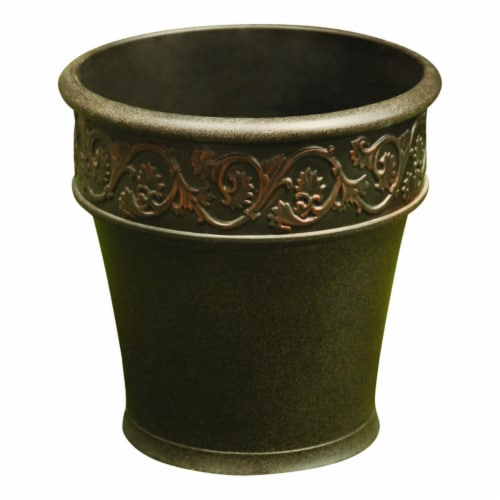 Infinity 7500879 15 x 15 in. Polyresin Traditional Planter, Bronze - Case of 2 Perspective: front