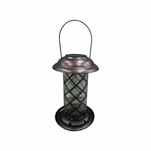 Infinity Wild Bird Metal Solar Lantern Feeder Perspective: front