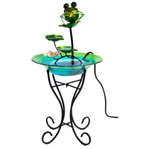Ctm International Giftware LH40481 15 in. Glass & Metal Bird Bath Perspective: front