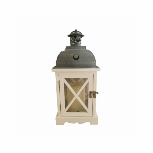 Infinity 8027959 LED Iron & Wood Lantern, White - Pack of 2 Perspective: front