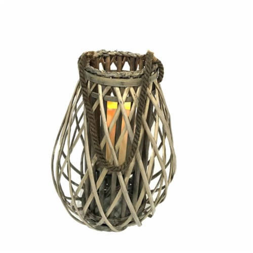 Infinity 8028045 LED Wood Flameless Lantern, Gray Perspective: front