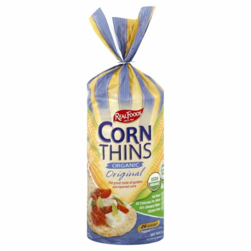 Real Foods Organic Original Corn Thins Perspective: front
