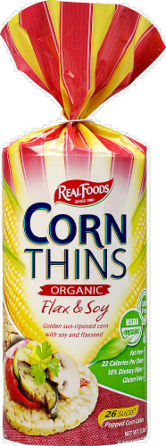 Real Foods Organic Flax & Soy Corn Thins Perspective: front