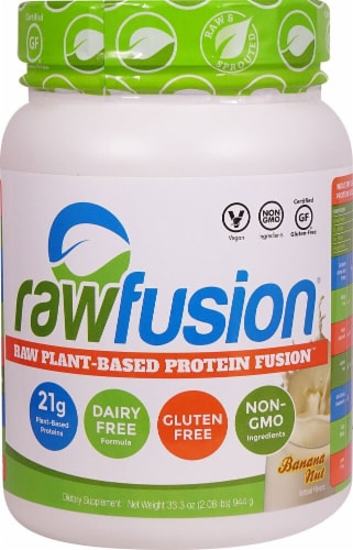 Rawfusion Plant-Based Banana Nut Protein Fusion Supplement Perspective: front