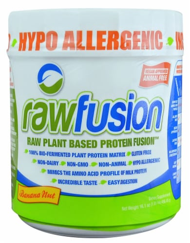 San Rawfusion Plant Based Banana Nut Flavored Protein Fusion Perspective: front