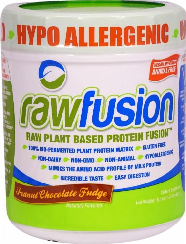San Rawfusion Plant Based Protein Fusion™ - Peanut Chocolate Fudge Perspective: front