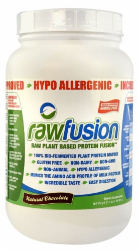 San  Rawfusion Plant Base Protein Fusion™   Natural Chocolate Perspective: front