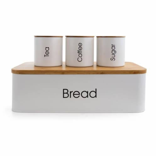Megachef MG-318 4 Piece Kitchen Food Storage & Organization Canister Set, White Perspective: front