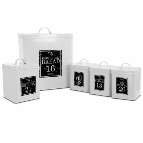 Megachef MG-416 5 Piece Kitchen Food Storage & Organization Canister Set, White & Black Perspective: front