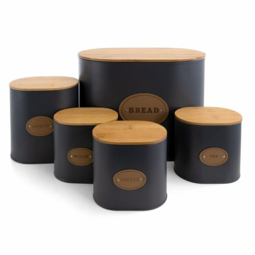 MegaChef MG-446 Kitchen Food Storage & Organization Canister Set in Grey with Bamboo Lid - 5 Perspective: front