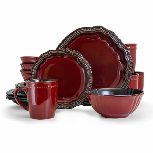 Elama Regency 16 Piece Luxurious Stoneware Dinnerware with Complete Setting for 4, 16pc Perspective: front