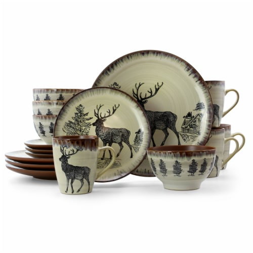 Elama Majestic Elk 16 Piece Luxurious Stoneware Dinnerware with Complete Setting for 4 Perspective: front