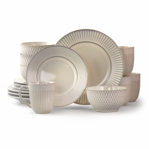 Elama Market Finds 16 Piece Round Stoneware Dinnerware Set in Embossed White Perspective: front