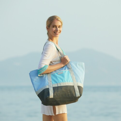 Ocean Stripe Canvas Sand-free Tote Perspective: front