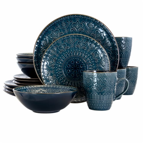 Elama  Deep Sea Mozaic 16 Piece Luxurious Stoneware Dinnerware with Complete Setting for 4 Perspective: front