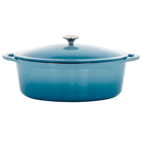 Megachef 7 qt. Oval Enameled Cast Iron Casserole - Blue Perspective: front