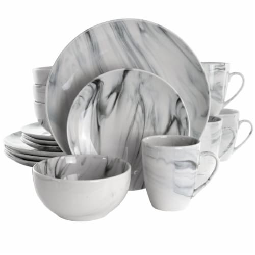 Elama EL-FINEMARBLE 16 Piece Fine Marble Stoneware Dinnerware Set, Black & White Perspective: front