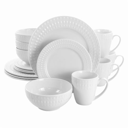 Elama Cara 16 Piece Round Porcelain Dinnerware Set in White Perspective: front