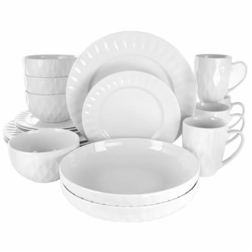 Elama Sienna 18 Piece Porcelain Dinnerware Set in White Perspective: front