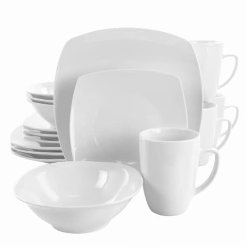 Elama Bishop 16 Piece Soft Square Porcelain Dinnerware Set in White Perspective: front