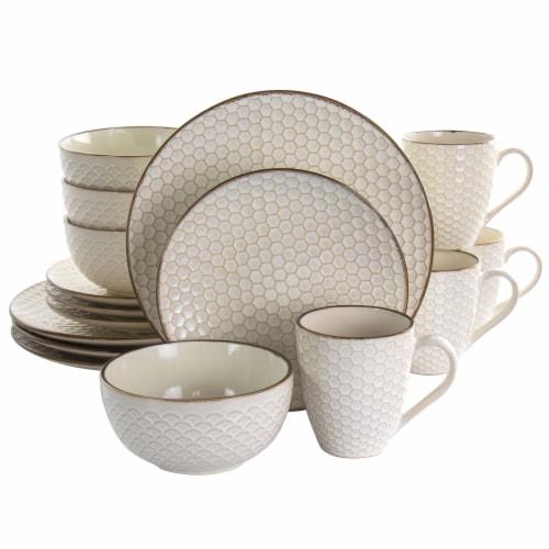 Elama Honey Ivory 16 Piece Stoneware Dinnerware Set in Ivory Perspective: front
