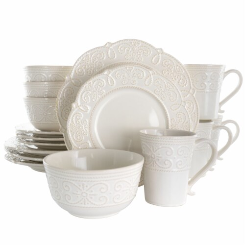 Elama Luna 16 Piece Embossed Scalloped Stoneware Dinnerware Set in White Perspective: front