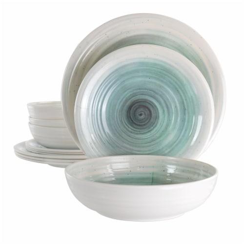 Elama Potters Wheel 12 Piece Lightweight Melamine Dinnerware Set in Light Blue Perspective: front