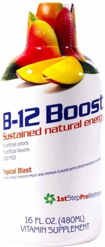 High Performance Fitness, Inc. 1st Step Liquid B-12 Tropical Blast 16-Ounce, 1 Bottle Perspective: front