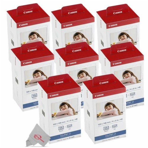 8x Canon Kp-108in Selphy Color Ink 4x6 Paper Set 3115b001 For Selphy Cp910 Cp900 Perspective: front