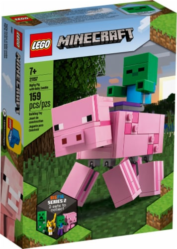 21157 LEGO® Minecraft BigFig Pig with Baby Zombie Perspective: front
