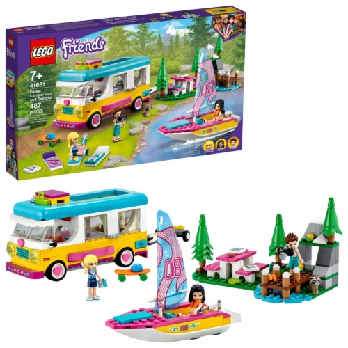 LEGO® Friends Forest Camper, Van, and Sailboat Perspective: front