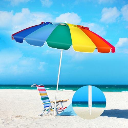 Gymax 8ft Beach Umbrella Outdoor Patio Garden w/ Carrying Bag Sand Anchor Perspective: front