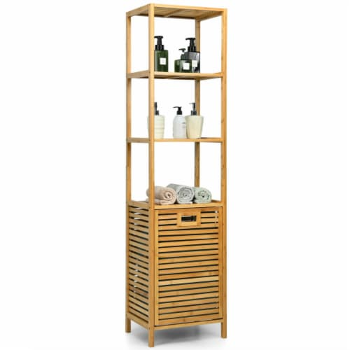 Gymax Bathroom Tilt-out Laundry Hamper Bamboo Tower Hamper w/3-Tier Shelves Perspective: front