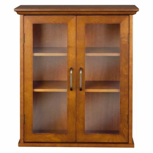 Elegant Home Fashions Wooden Bathroom Wall Cabinet 2 Doors Brown Oak ELG-540 Perspective: front