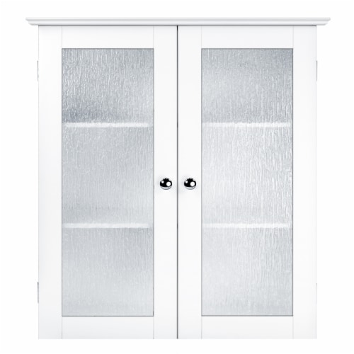 Elegant Home Fashions Bathroom Wall Cabinet 2 Glass Doors White Connor ELG-581 Perspective: front