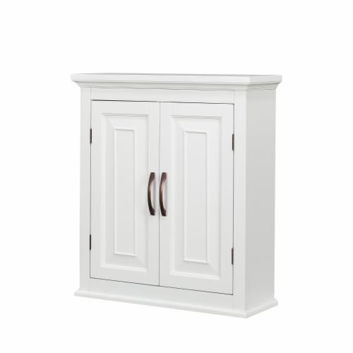 Elegant Home Fashions Wooden Bathroom Wall Cabinet 2 Door White St James ELG-590 Perspective: front
