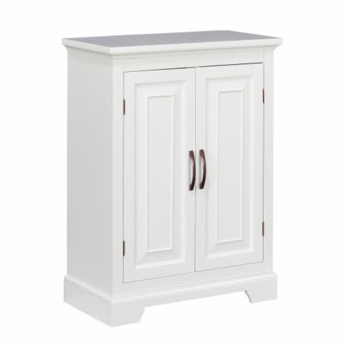 Elegant Home Fashions Wooden Bathroom Floor Cabinet 2 Door White St James ELG-591 Perspective: front