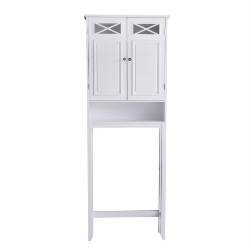Elegant Home Fashions Bathroom Cabinet Over Toilet 2 Doors & Shelf White 6803 Perspective: front