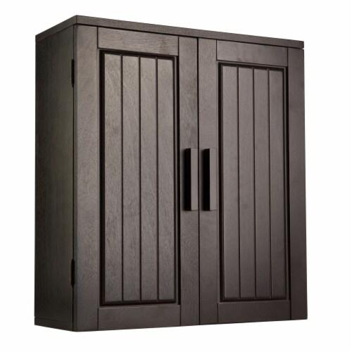 Elegant Home Fashions Wooden Bathroom Wall Cabinet 2 Doors Espresso Catalina 7695 Perspective: front