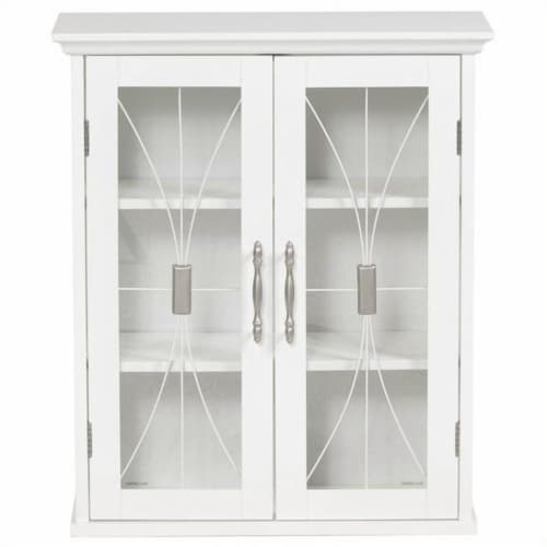 Elegant Home Fashions Delaney 2-Door Wall Cabinet in White Perspective: front