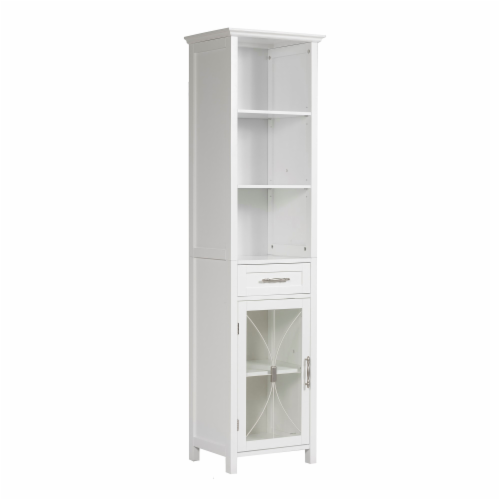 Elegant Home Fashions Delaney 65  1-Door Linen Cabinet in White Perspective: front