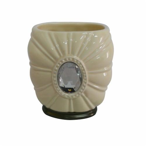 Elegant Home Fashions Bathroom Tumbler Holder Jemma Ivory & Silver Gem AC13201 Perspective: front