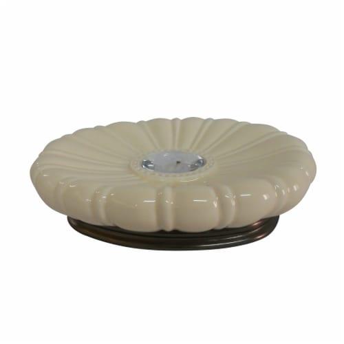 Elegant Home Fashions Bathroom Soap Dish Jemma Ivory & Silver Gem AC13202 Perspective: front