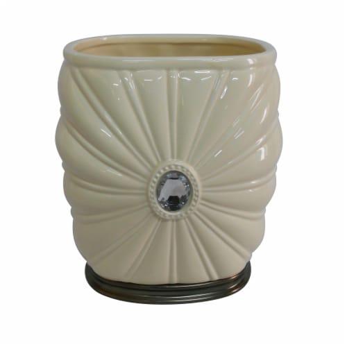 Elegant Home Fashions Bathroom Waste Basket Jemma Ivory & Silver Gem AC13206 Perspective: front