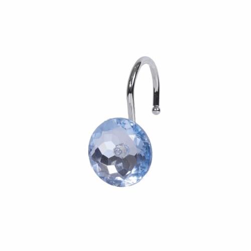 Elegant Home Fashions Bathroom Shower Curtain Hooks Set 12 Diamond Blue HK40102 Perspective: front
