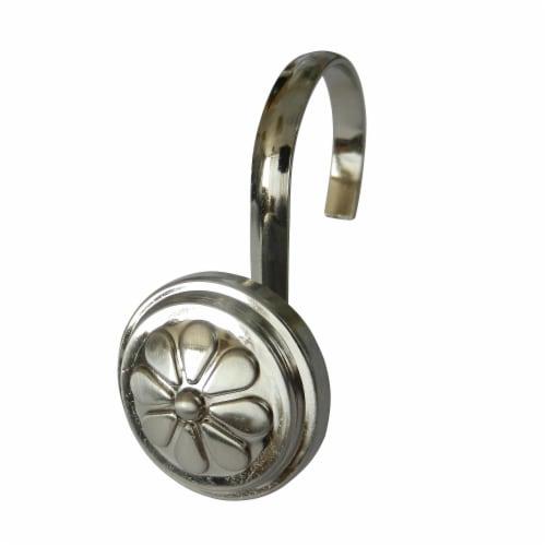 Elegant Home Fashions Bathroom Shower Curtain Hooks Wagon Wheel Chrome HK40158 Perspective: front