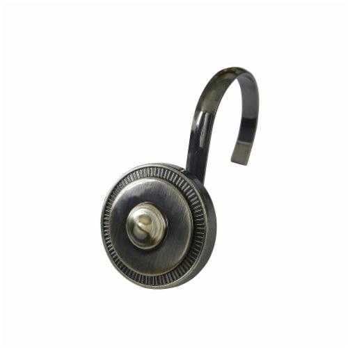 Elegant Home Fashions Bathroom Shower Curtain Hooks Set Shield Bronze HK40163 Perspective: front