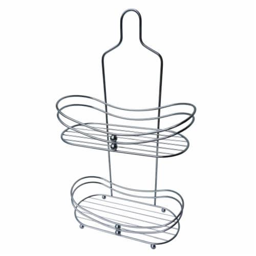 Elegant Home Fashions Bathroom Shower Caddy 2-Tier Round Edges Chrome ESC-022 Perspective: front