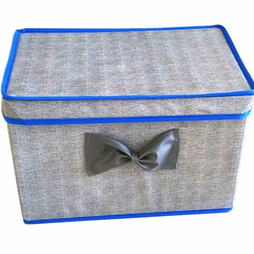 Elegant Home Fashions Soft Storage Boxes Set Of 2 Lid & Handle Grey/Blue YN95092 Perspective: front