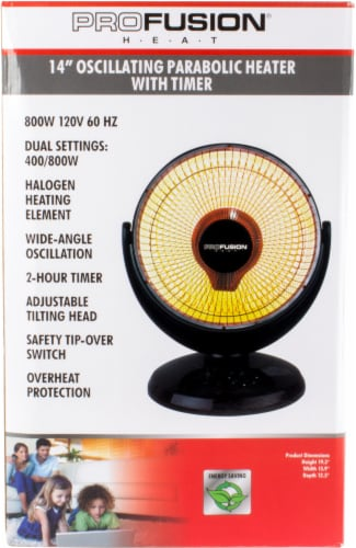 ProFusion Heat Oscillating Parabolic Heater with Timer Perspective: front